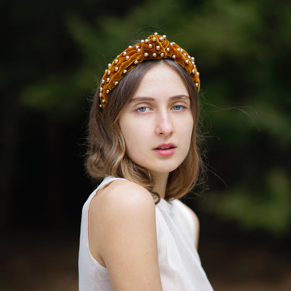 knot gold velvet headband with pearls | pearl headband | knot headband by tanya litkovska