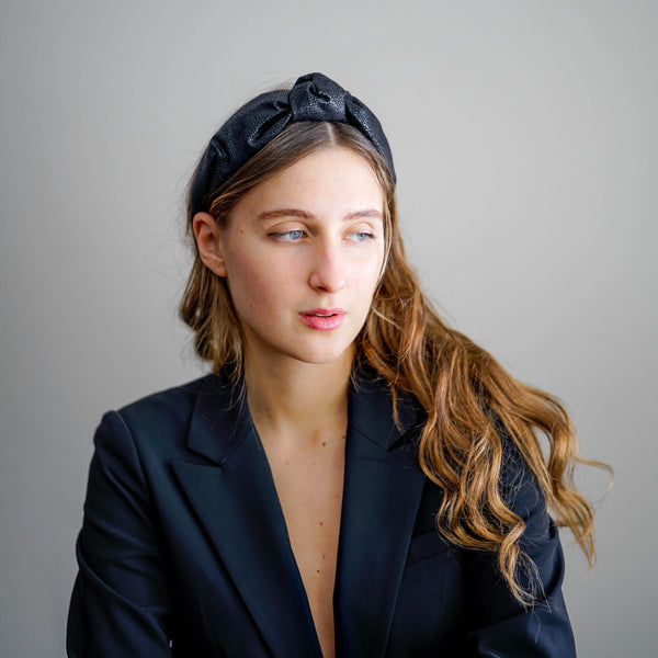 leather headband | knotted black headband | fashion headbands by tanya litkovska