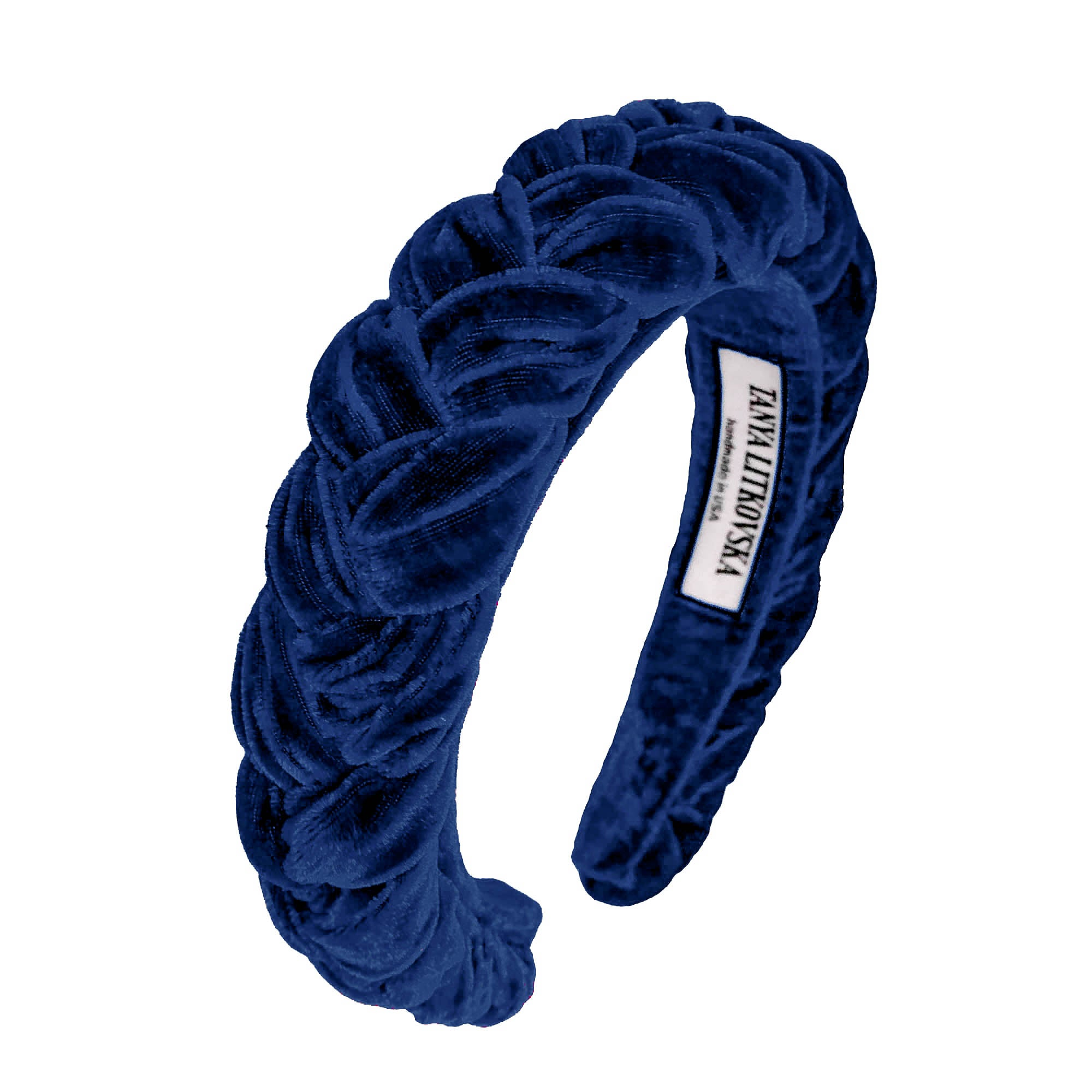 luxury hair accessories | braided velvet headband | navy blue headband by tanya litkovska