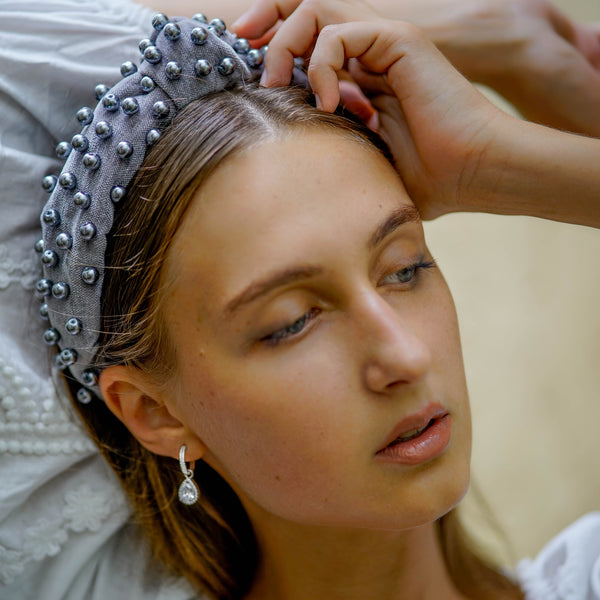 pearl headband in grey velvet | jewelled headband | velvet headbands by tanya litkovska