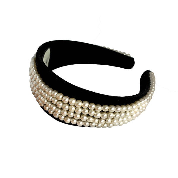 pearl headband | thick velvet headband | wide fashion headband by tanya litkovska