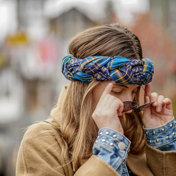 Plaid Blue Winter Headwrap