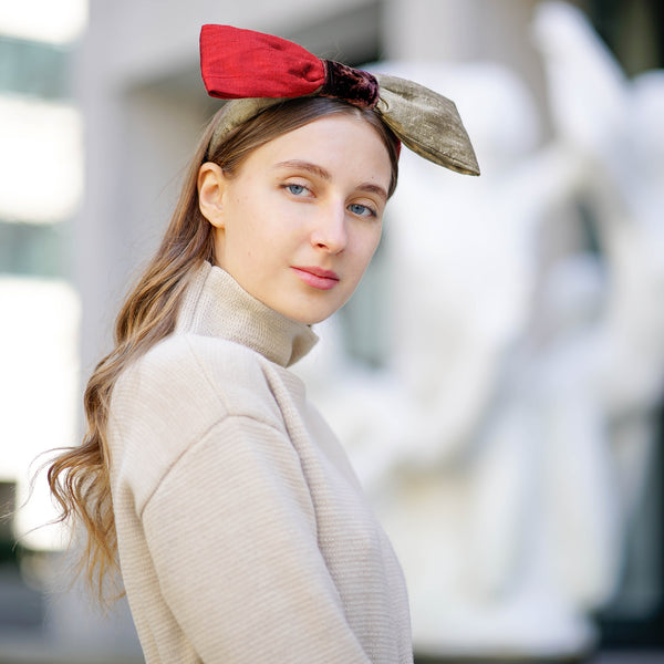 silk bow headband | designer bow headbands | red bow headband by tanya litkovska
