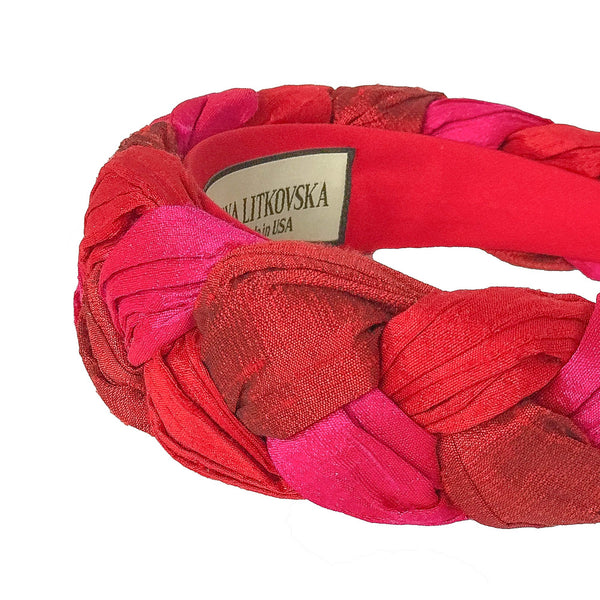 silk headband in triple red | braided designer headbands for women by tanya litkovska