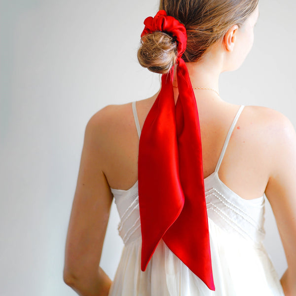 silk red scrunchie | fashion hair accessories | luxury scrunchies by tanya litkovska