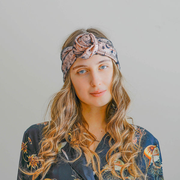 silk turban headband in rose sky | hair accessories for women by tanya litkovska