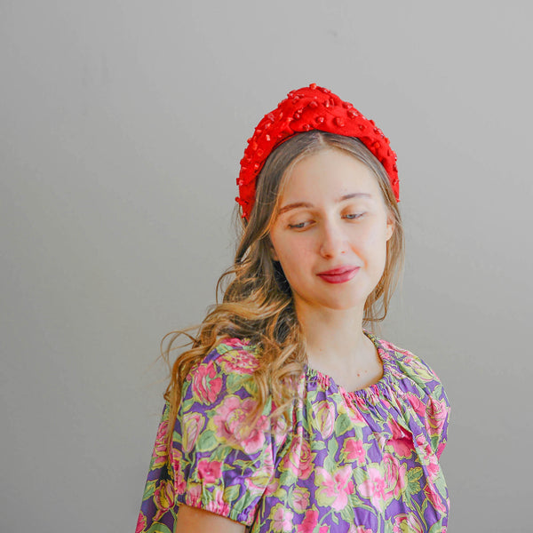 silk turban headband with natural coral beads | beaded headbands by tanya litkovska
