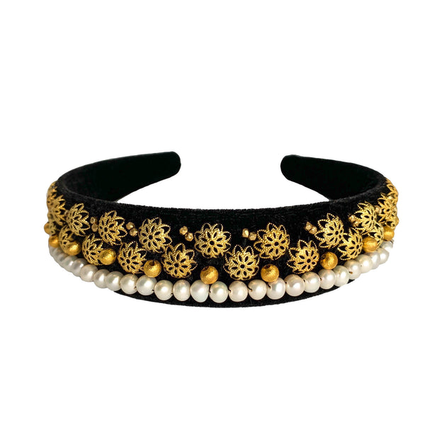 sofia pearl headband: jewelled headband with natural pearls by tanya litkovska