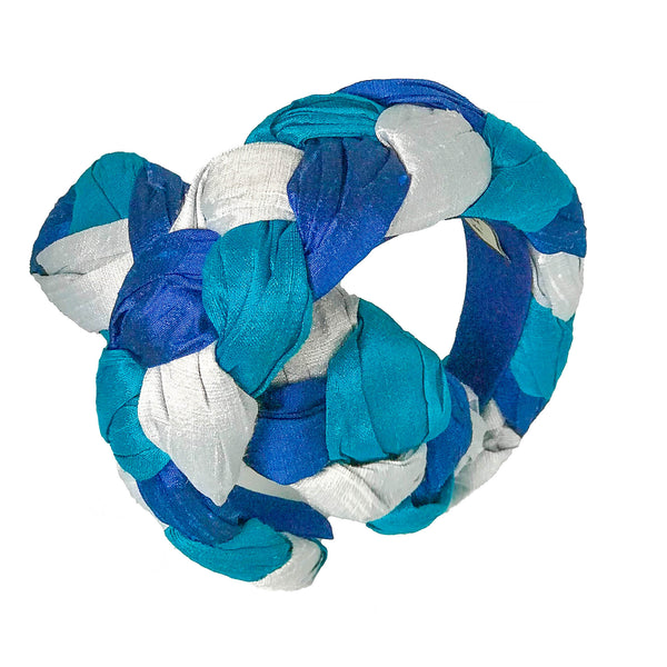 triple blue headband | silk fashion headbands | designer headbands by tanya litkovska