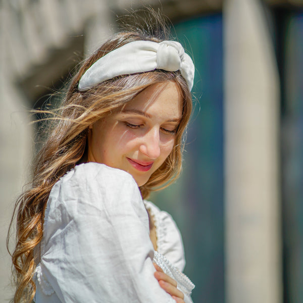 velvet knotted headband | white headband | great wedding hair accessory tanya litkovska