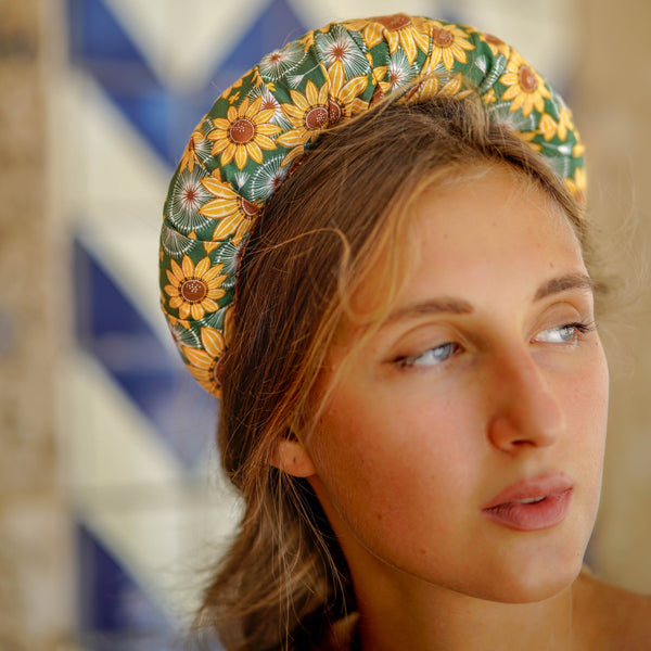 yellow headband in sunflower | shop floral headbands for women by tanya litkovska