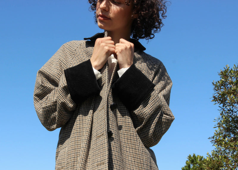 Contrast black corduroy cuffs and collar on the Edie Wool Car Coat from Laundromat