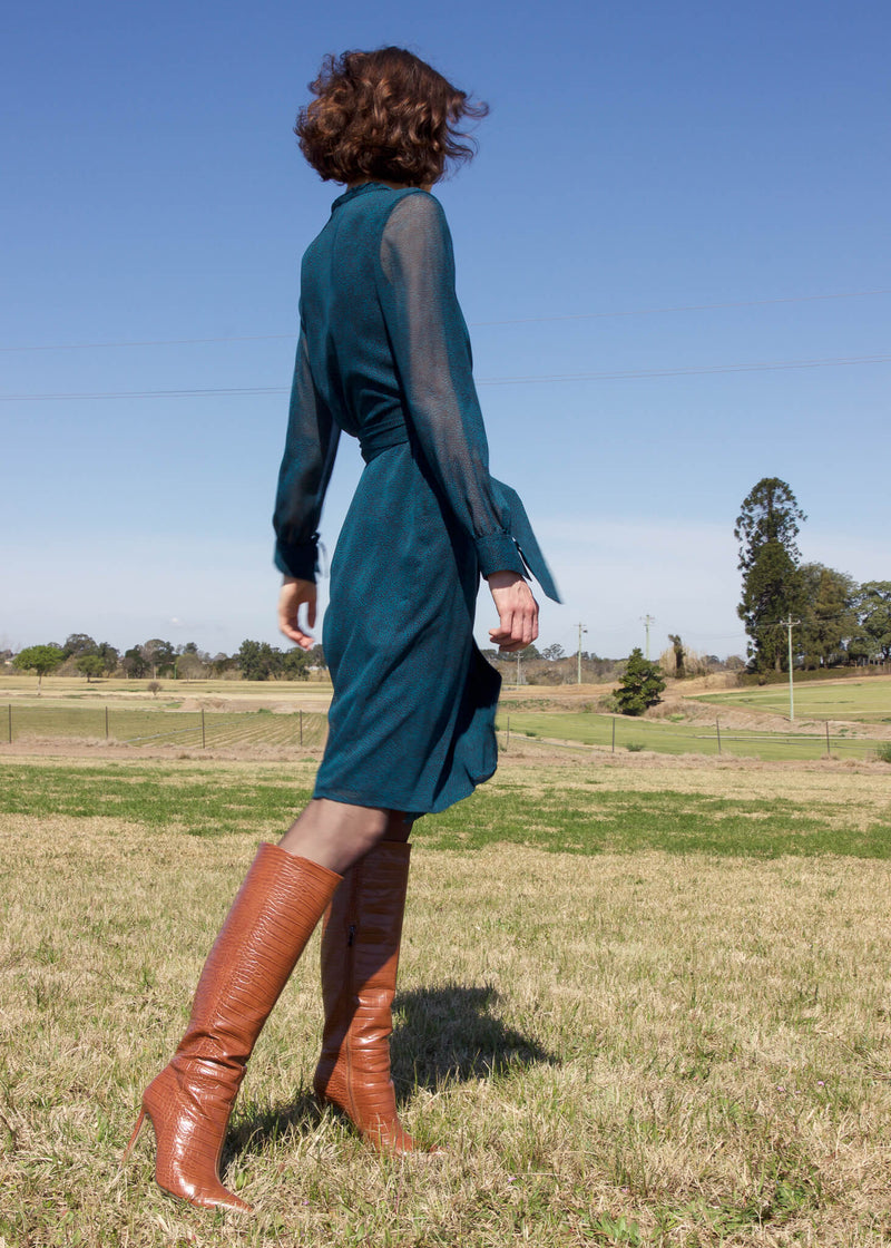 The Laila Chiffon Wrap Dress in Bottle Green from Laundromat