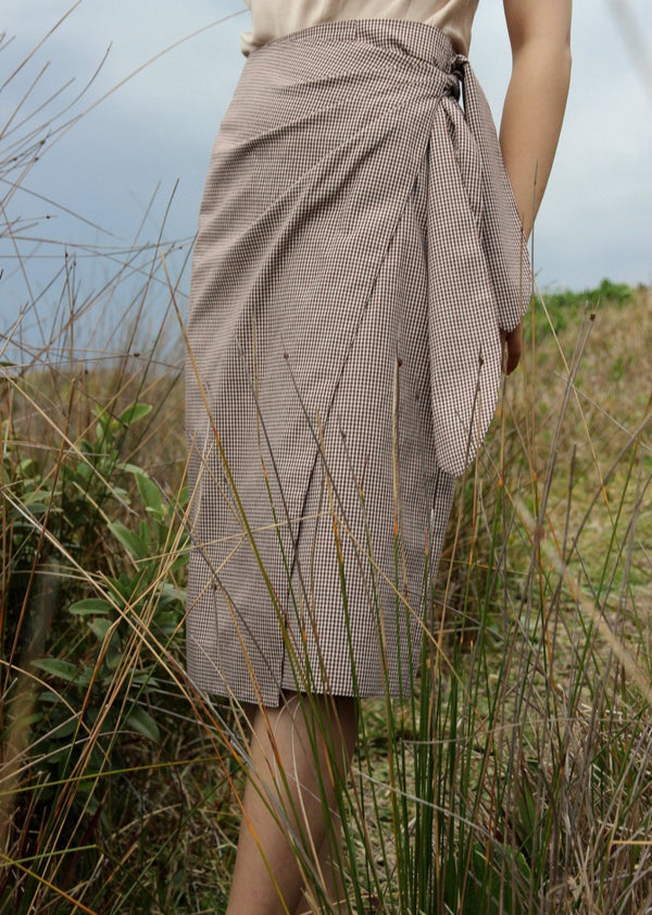 Anais Wrap Skirt in Chestnut Gingham with front ties by Laundromat