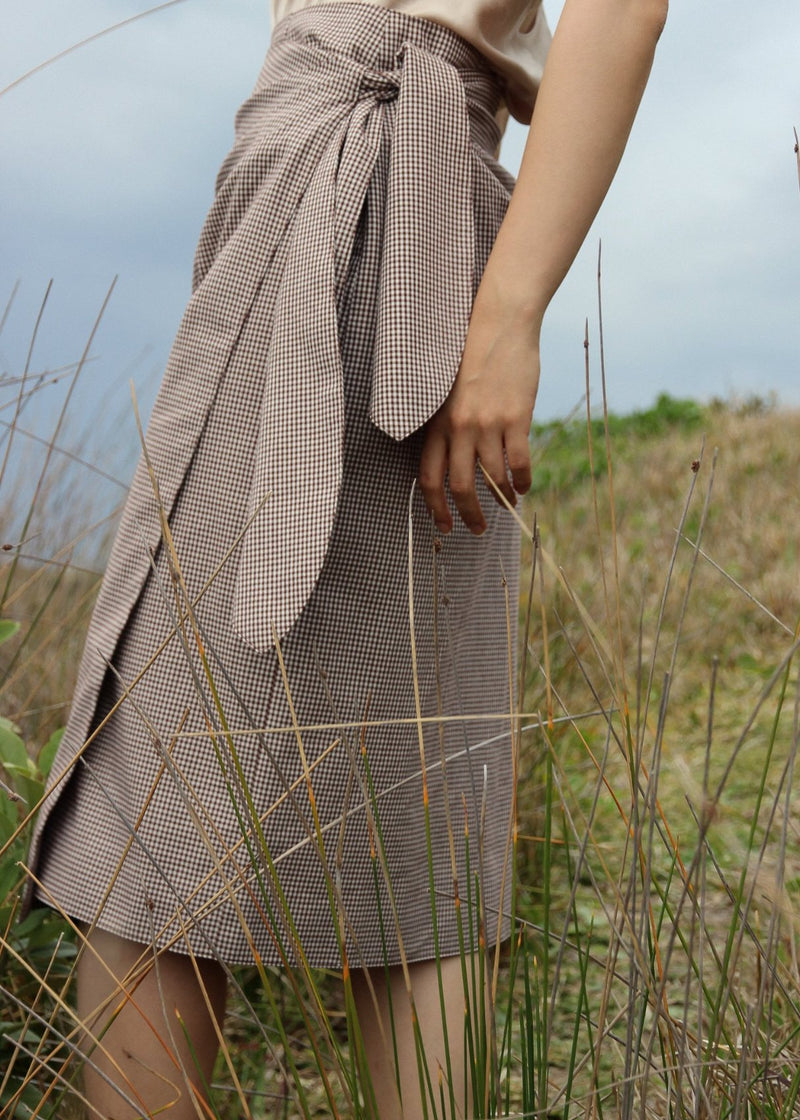 Anais Wrap Skirt in Chestnut Gingham Side