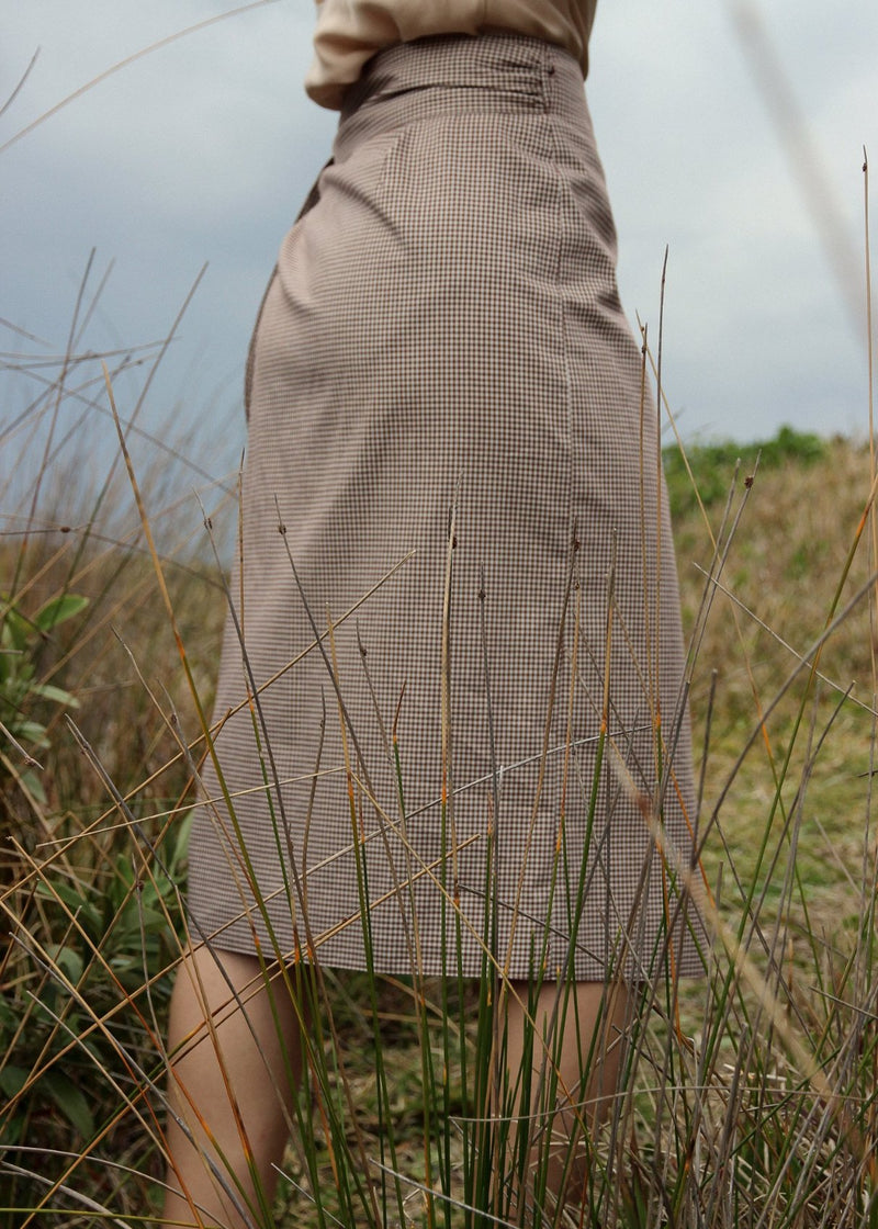 Anais Wrap Skirt in Chestnut Gingham by Laundromat, back detail