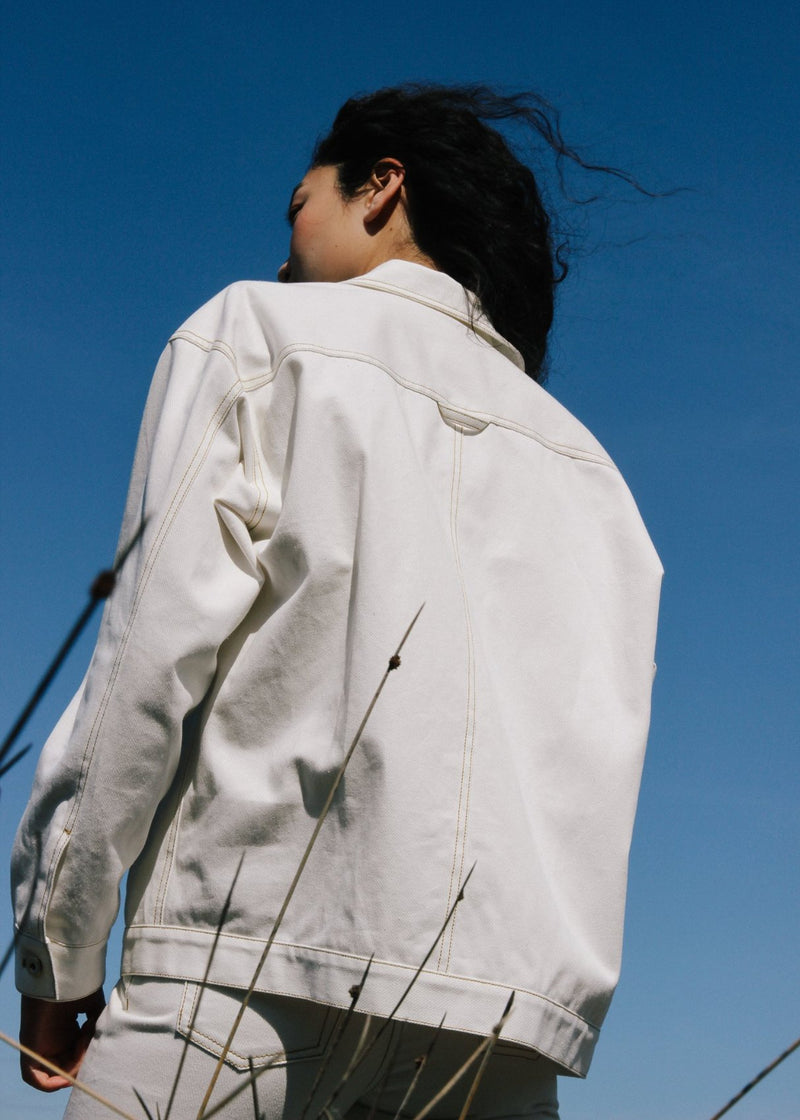 Back detail of the Avalon Denim Chore Jacket in Double Cream from Laundromat