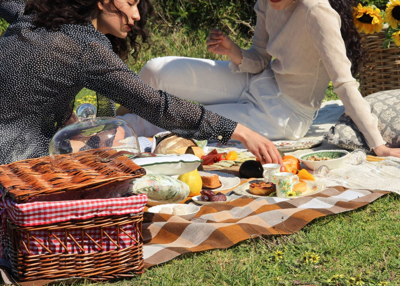 India picnicking with Marlo in the Carmen Pussy-bow Blouse in Dalmatian from Laundromat