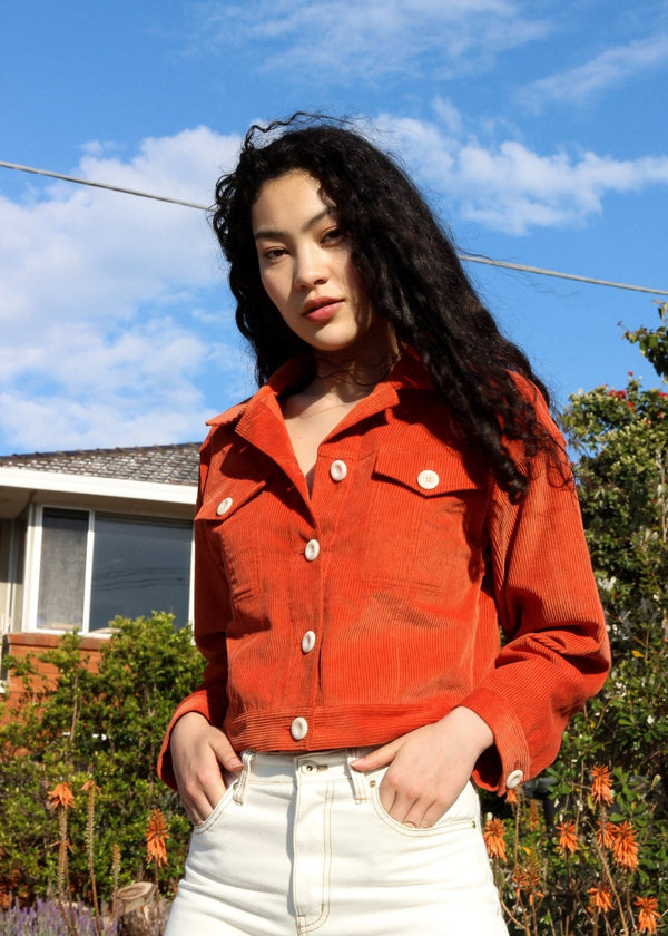 Marlo wears the Clementina Corduroy Jacket in Tangelo by Laundromat