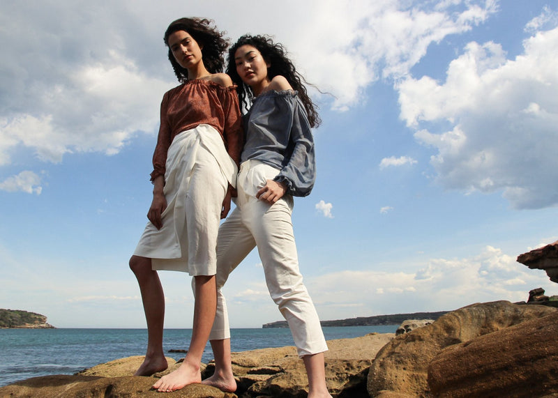India standing with Marlo who wears the Elaine Pleat Trousers in Alabaster