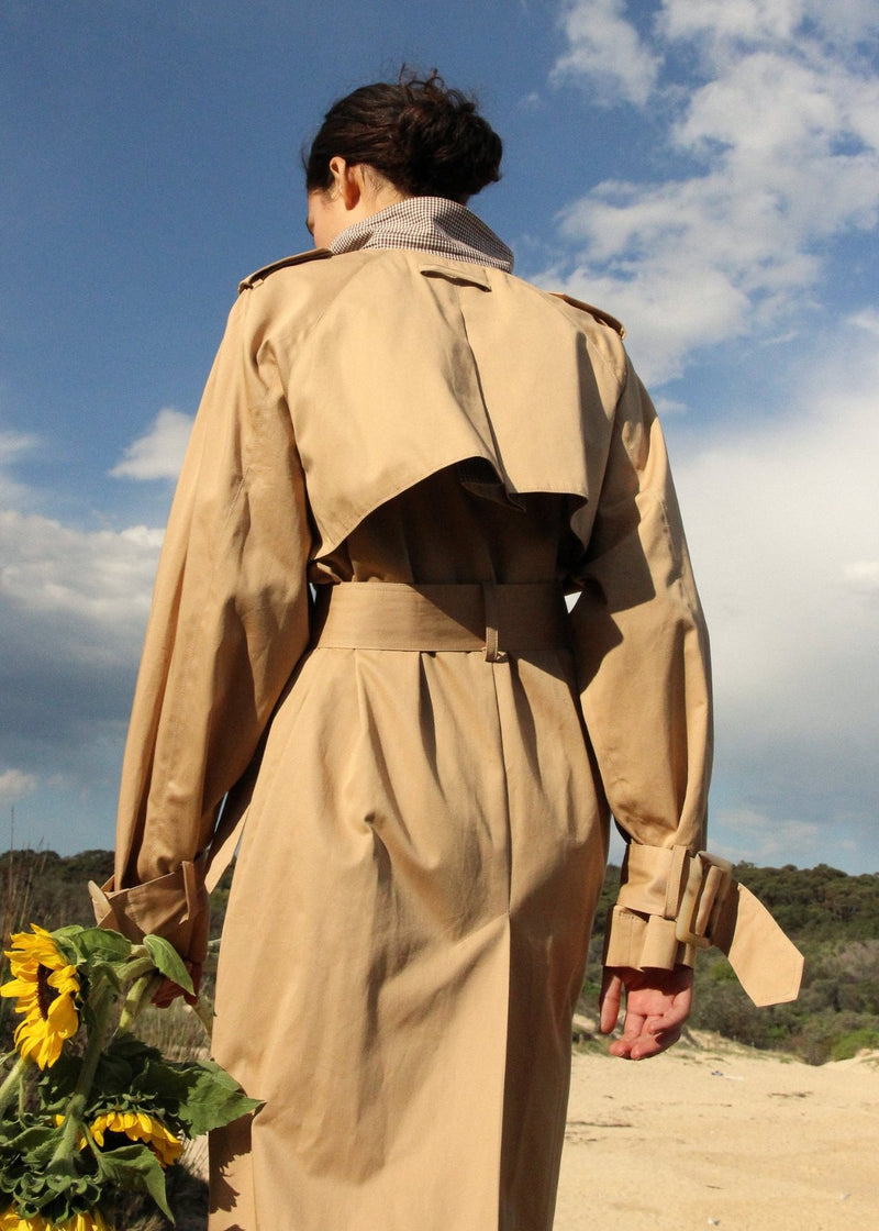 Back detail of the Marisol Trench Coat in Biscuit from Laundromat