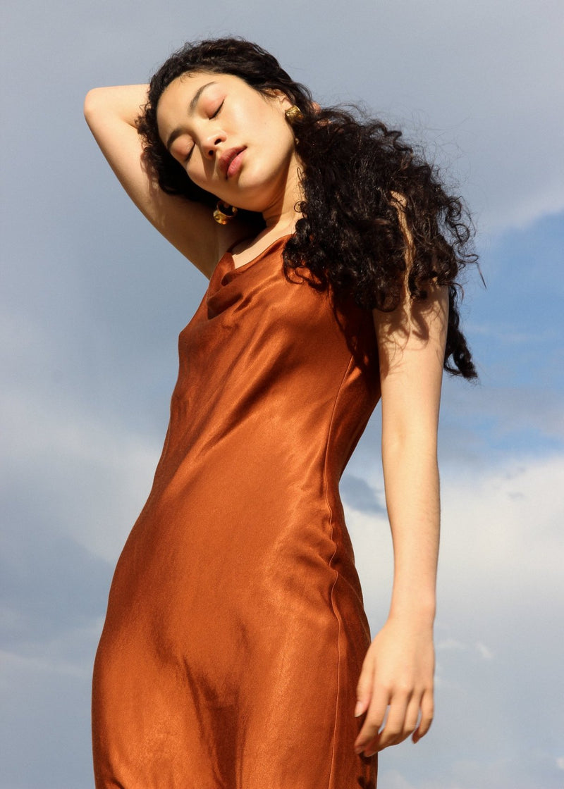 Marlo wears the Salma Slip Dress in Sienna from Laundromat