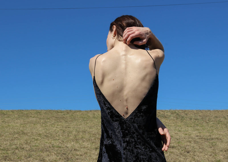 Detail of the back of the Ophelia Velvet Slip Dress from Laundromat