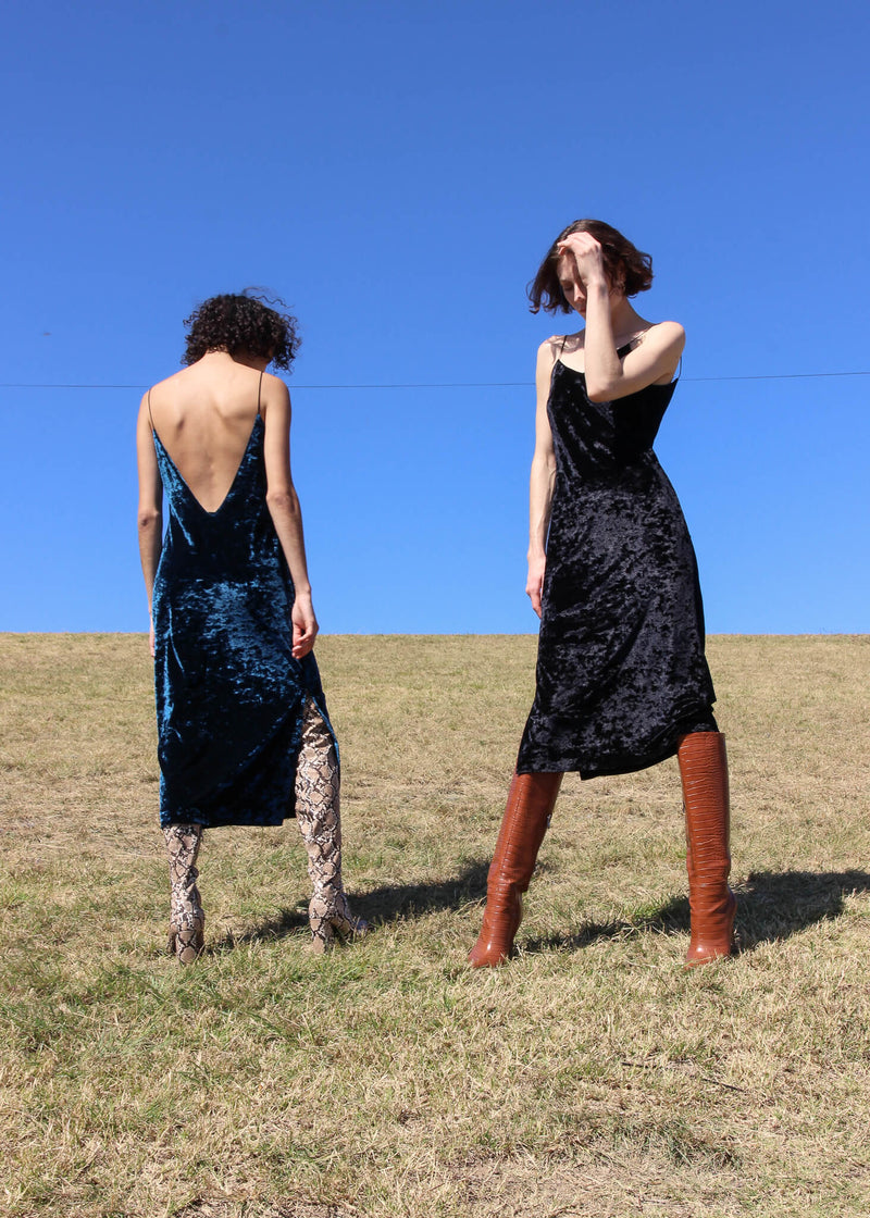 Maya and Olivia both wearing the Ophelia Velvet Slip Dress