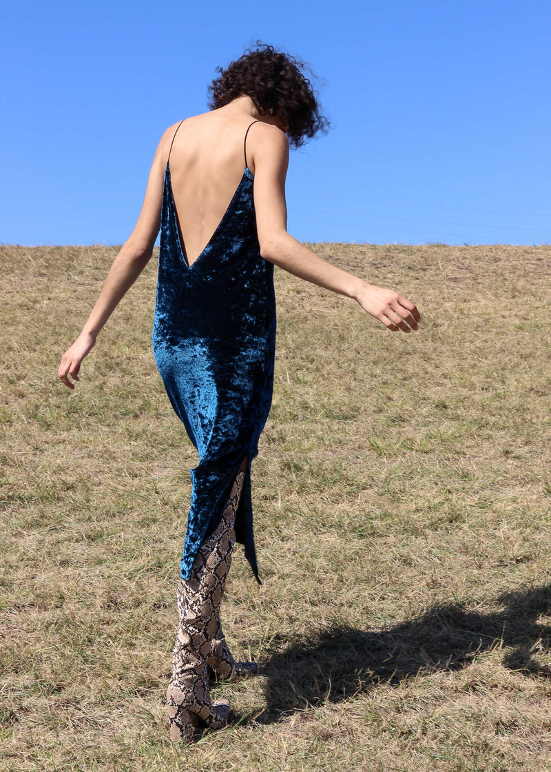 Back of the Ophelia Velvet Slip Dress worn by Maya