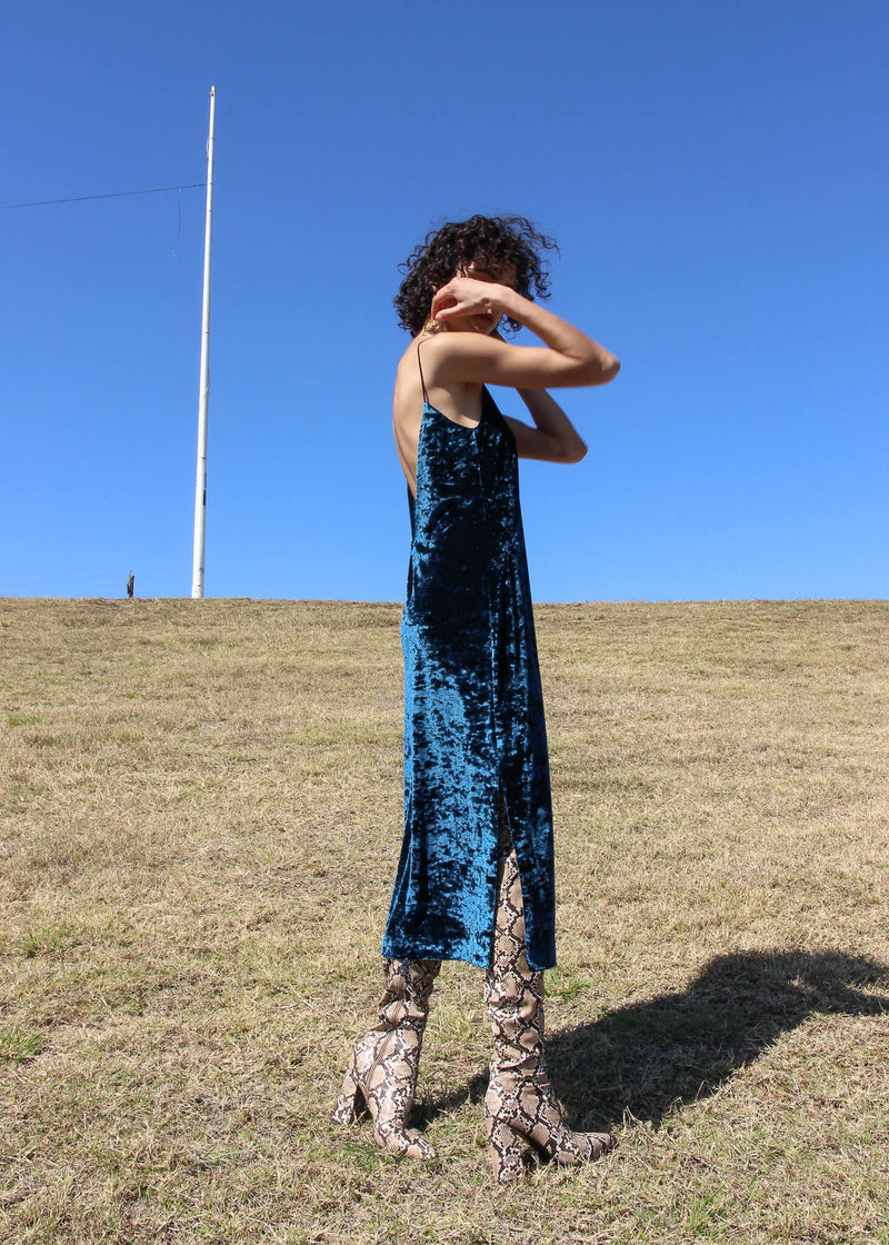 The Ophelia Velvet Slip Dress in Persian Blue worn by Maya