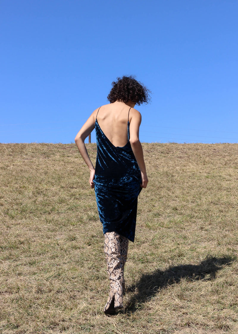Back view of the Ophelia Velvet Slip Dress from Laundromat