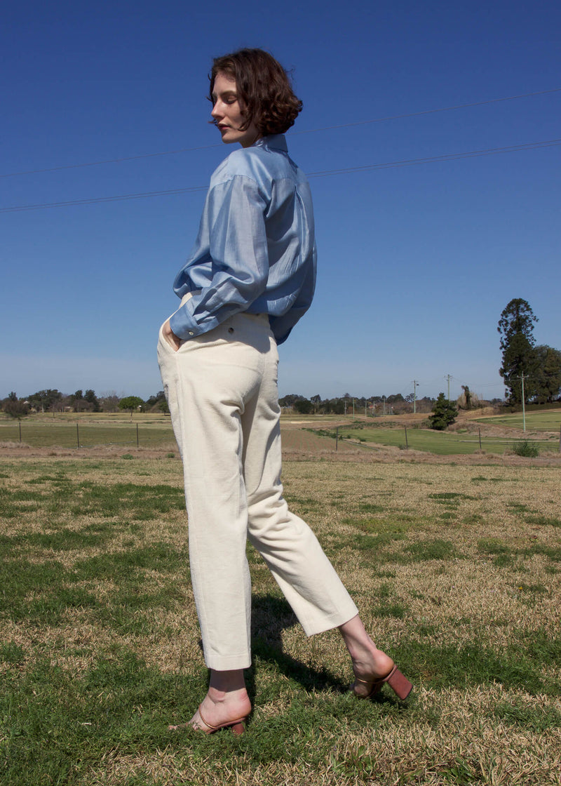 Back of the Paige Tencel Pocket Shirt worn by Olivia