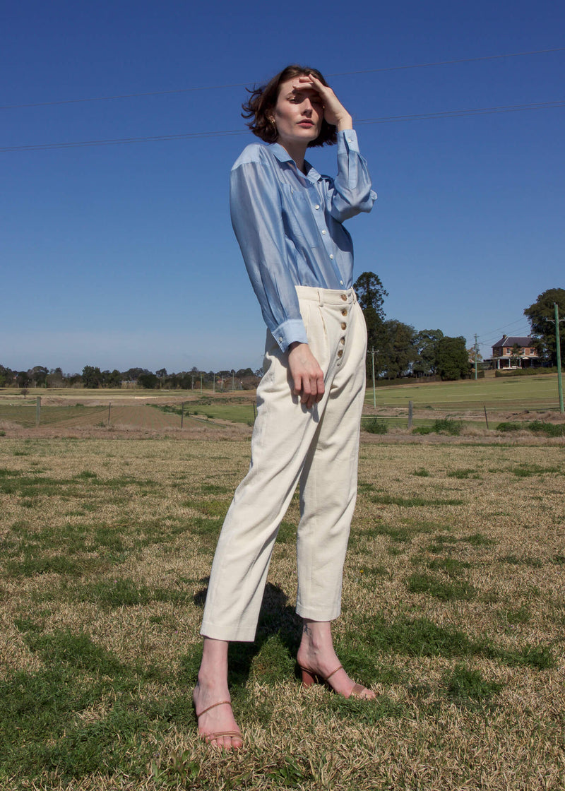 Olivia in the Paige Tencel Pocket Shirt and corduroy pants, both from Laundromat