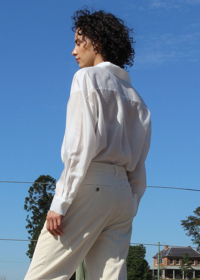 Back of the Paige Tencel Pocket Shirt worn by Maya