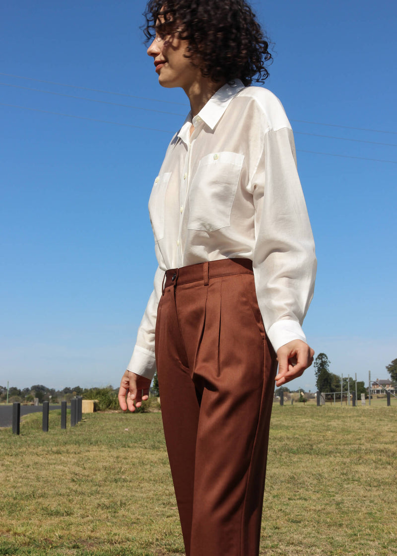 Maya wearing the Paige Tencel Pocket Shirt in Porcelain