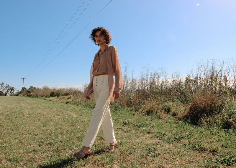 Maya in the Rumi Corduroy Button-up Trousers from Laundromat