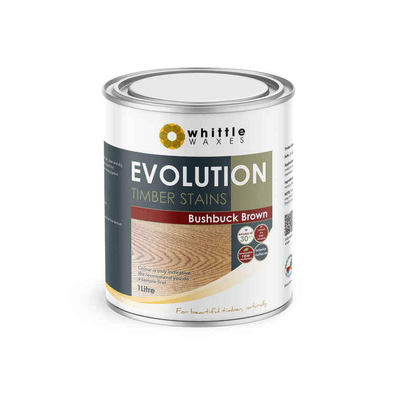 Whittle Waxes Evolution Colours (Bushbuck Brown) - quality timber stain - 1 Litre