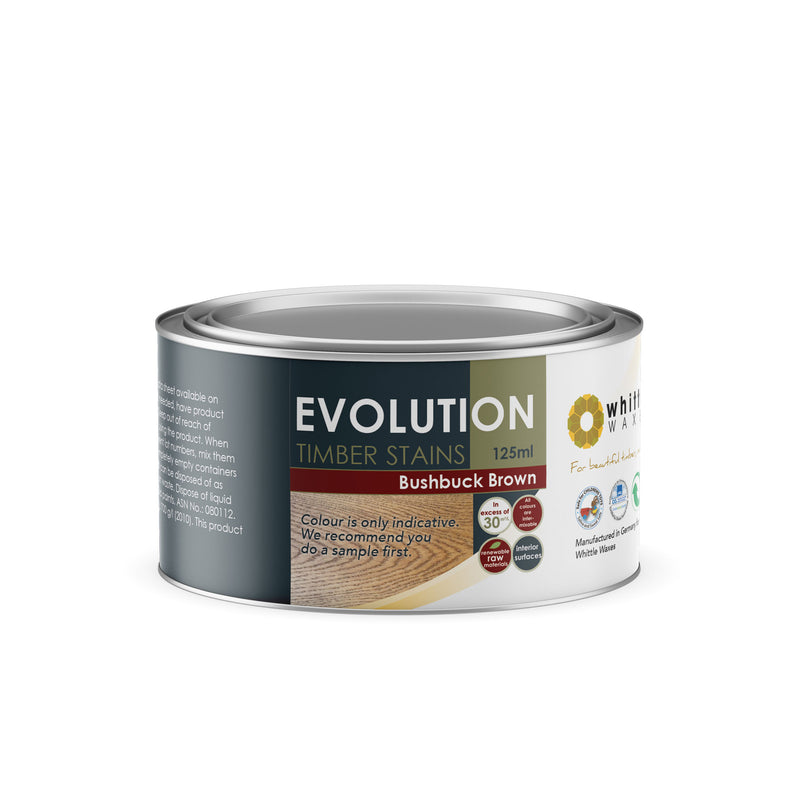 Whittle Waxes Evolution Colours (Bushbuck Brown) - quality timber stain - 125ml