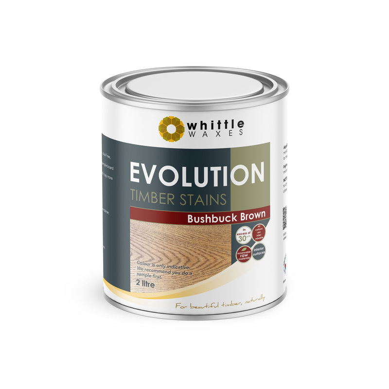 Whittle Waxes Evolution Colours (Bushbuck Brown) - quality timber stain - 2 Litre