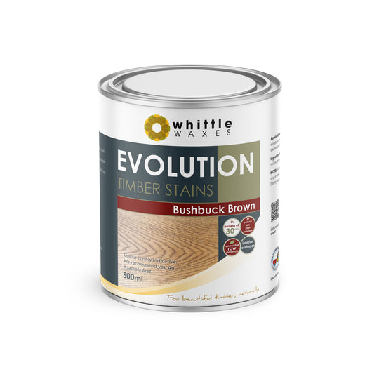 Whittle Waxes Evolution Colours (Bushbuck Brown) - quality timber stain - 500ml