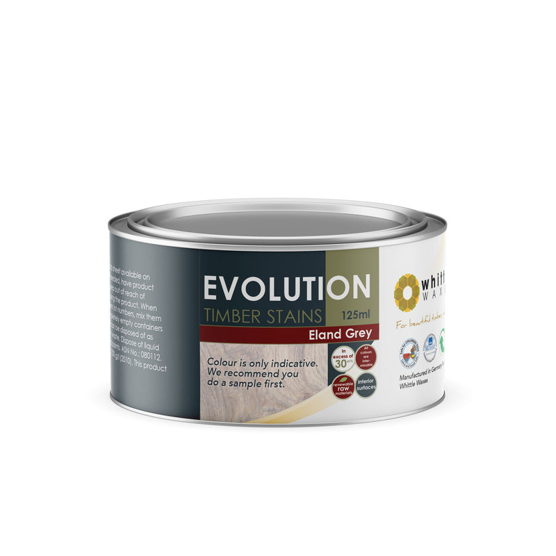 Whittle Waxes Evolution Colours (Eland Grey) - quality timber stain - 125ml