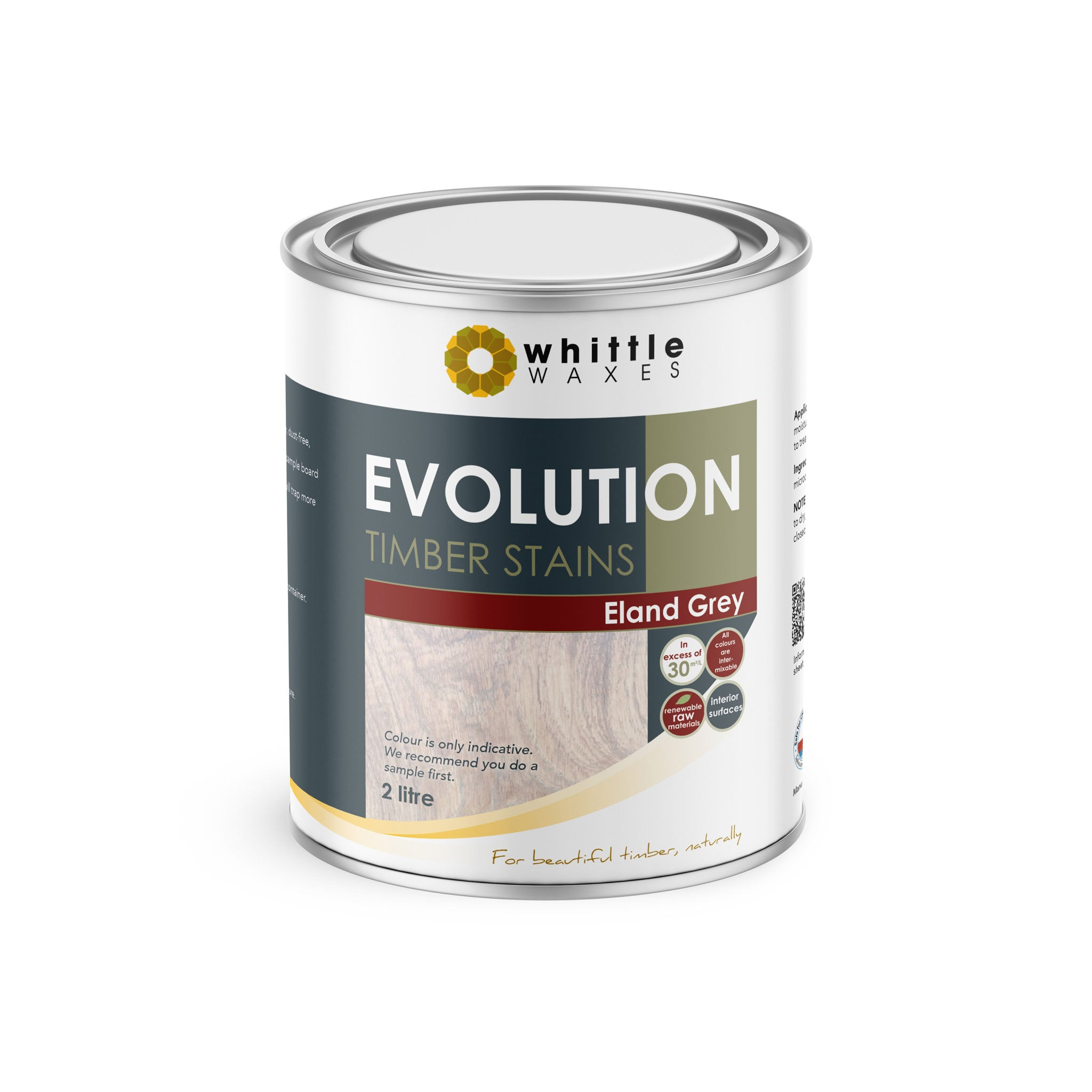 Whittle Waxes Evolution Colours (Eland Grey) - quality timber stain - 2 Litre