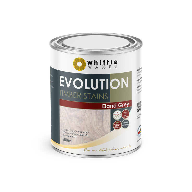 Whittle Waxes Evolution Colours (Eland Grey) - quality timber stain - 500ml