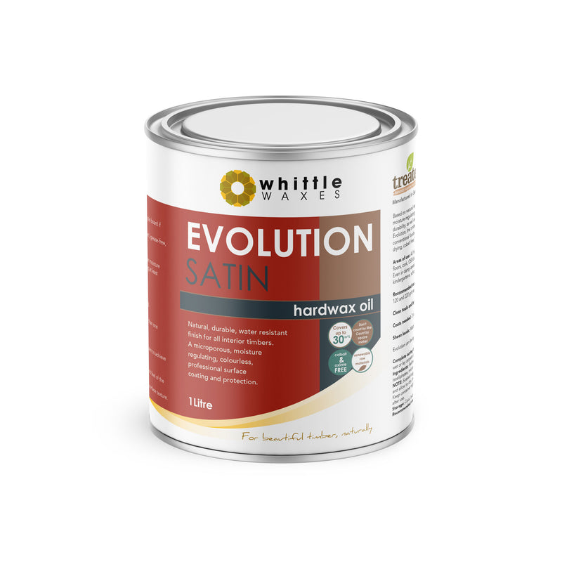 Whittle Waxes Evolution Hardwax Oil (Satin) - quality, durable, natural timber protection - 1 Litre