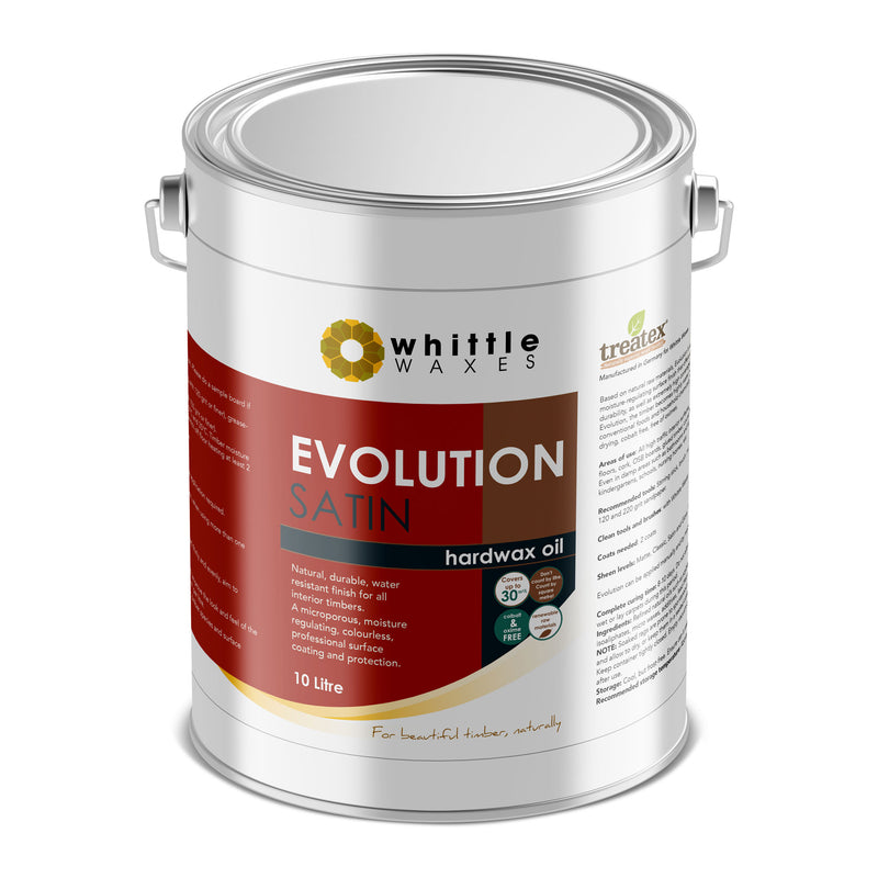 Whittle Waxes Evolution Hardwax Oil (Satin) - quality, durable, natural timber protection - 10 Litre