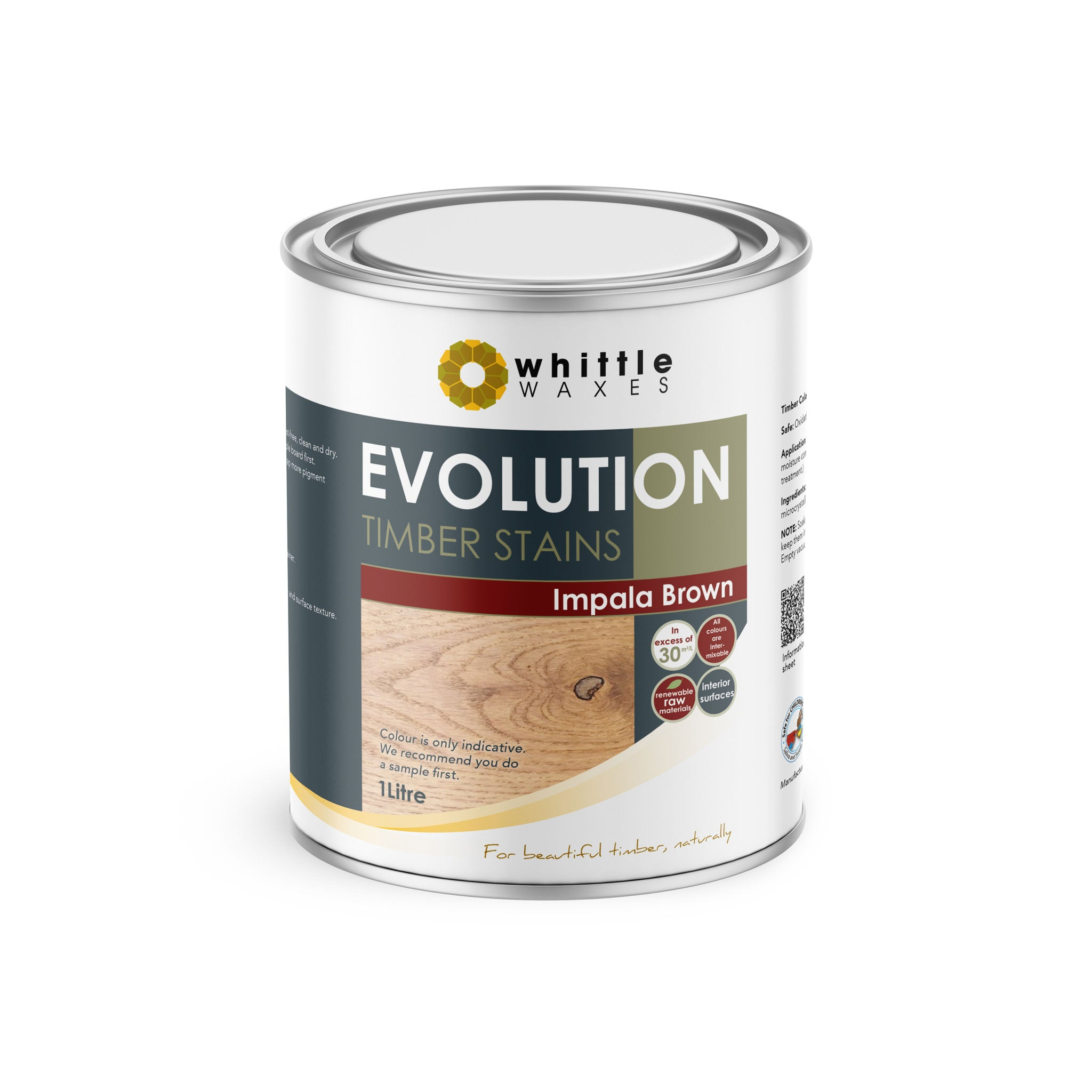Whittle Waxes Evolution Colours (Impala Brown) - quality timber stain - 1 Litre
