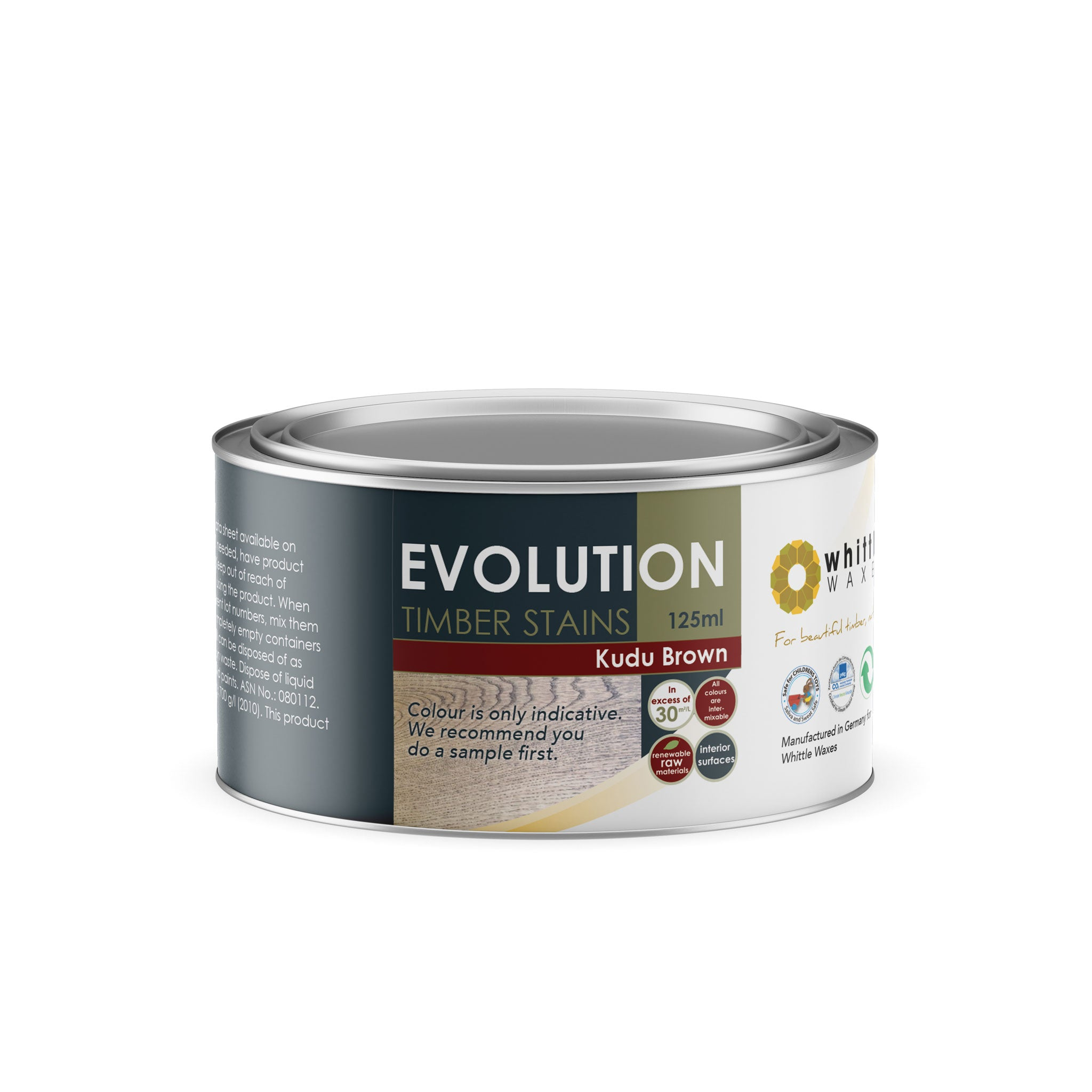 Whittle Waxes Evolution Colours (Kudu Brown) - quality timber stain - 125ml