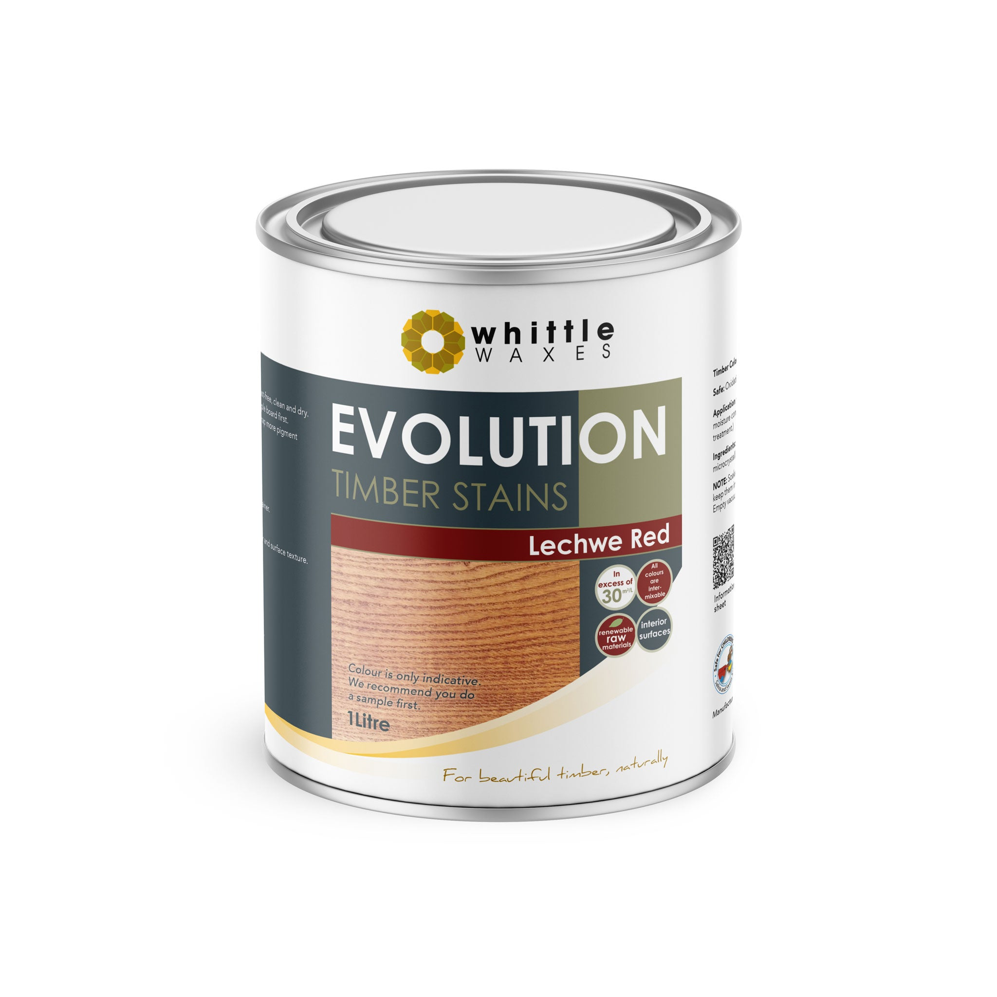 Whittle Waxes Evolution Colours (Lechwe Red) - quality timber stain - 1 Litre
