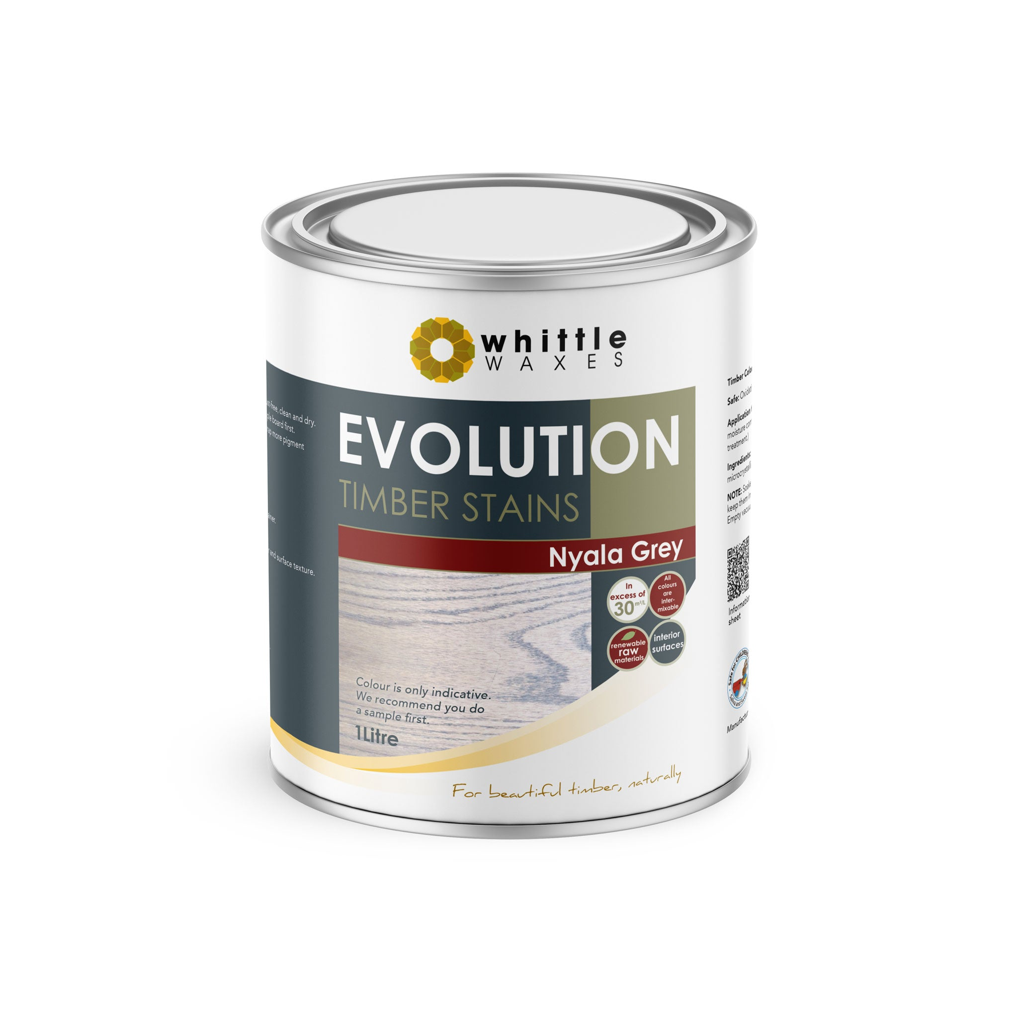 Whittle Waxes Evolution Colours (Nyala Grey) - quality timber stain - 1 Litre