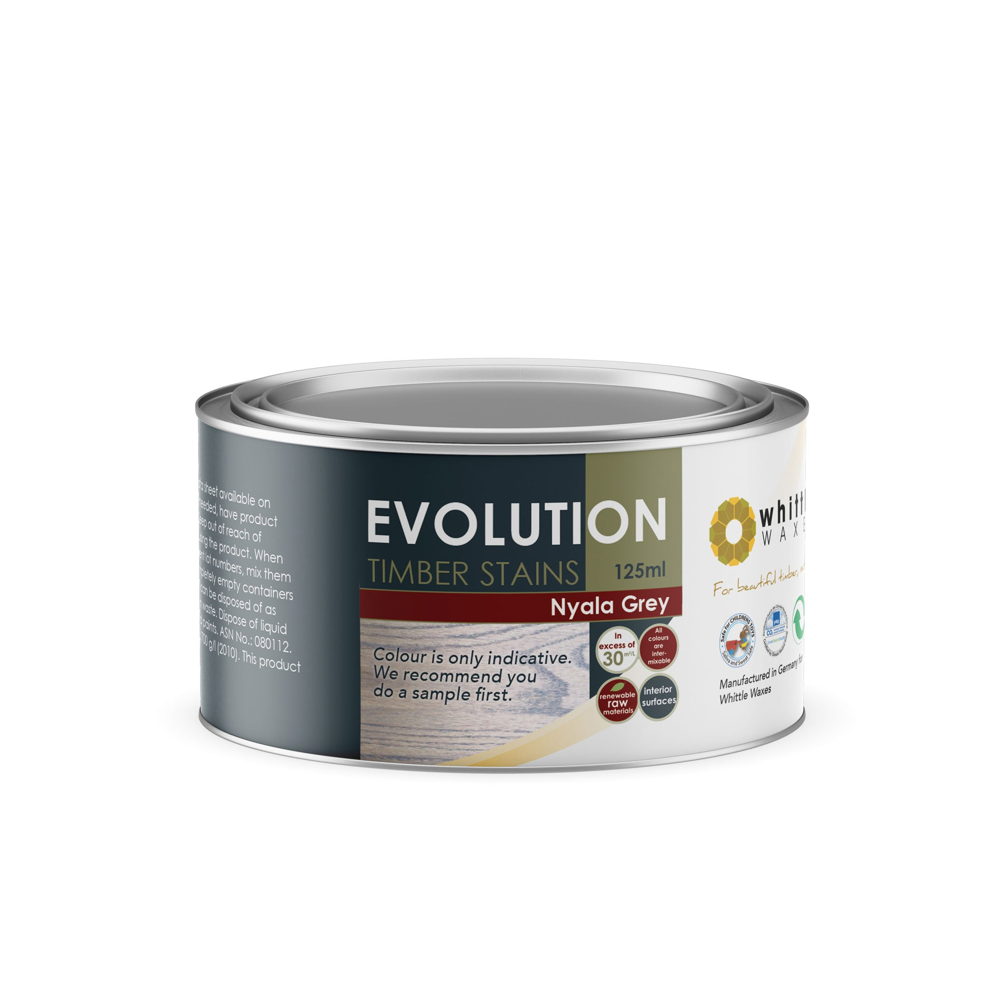 Whittle Waxes Evolution Colours (Nyala Grey) - quality timber stain - 125ml